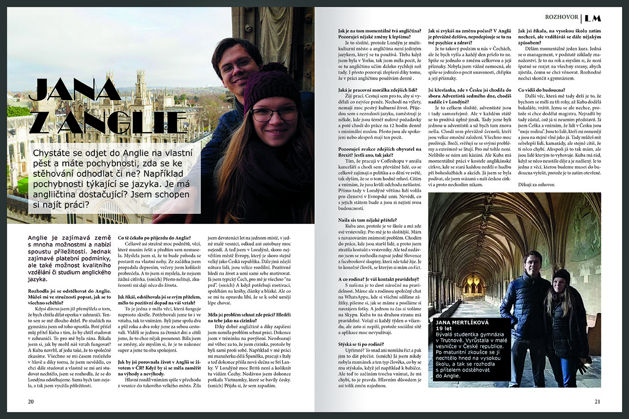 grafická úprava a sazba časopisu