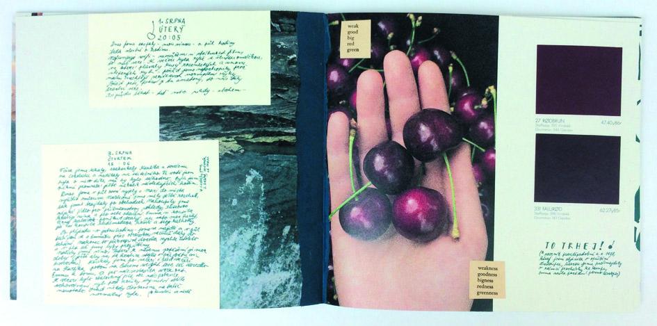 autorská kniha — deník<br> ukázka dvoustran<br> maturitní práce | 4.ročník