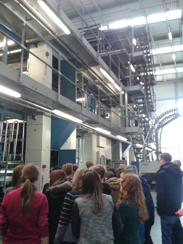 Studenti P3 a G2B na exkurzi <br>v tiskárně Mafraprint v rámci výuky technologie tisku.