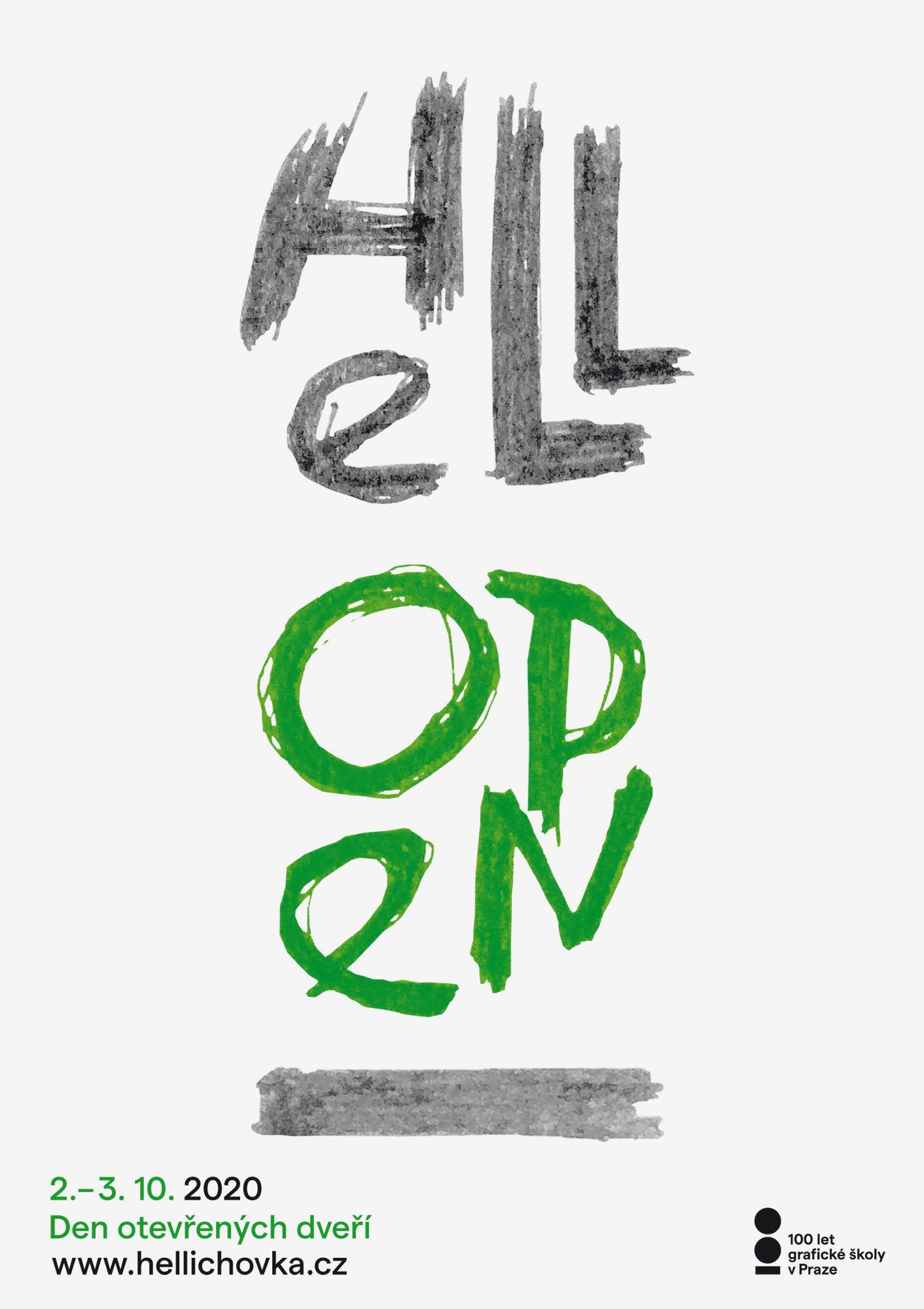 návrh plakátu Hellichovka Open<br> Den otevřených dveří<br> semestrální práce | 1. ročník<br> G1A 01 2020/2021