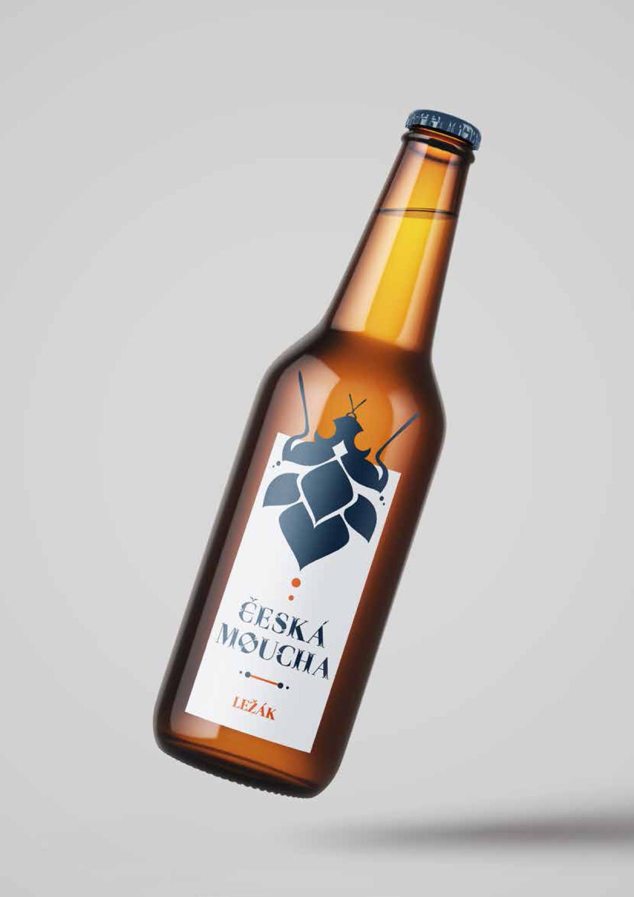návrh značky, obalu<br> pivovar Moucha<br> semestrální práce | 1. ročník<br>2020/2021