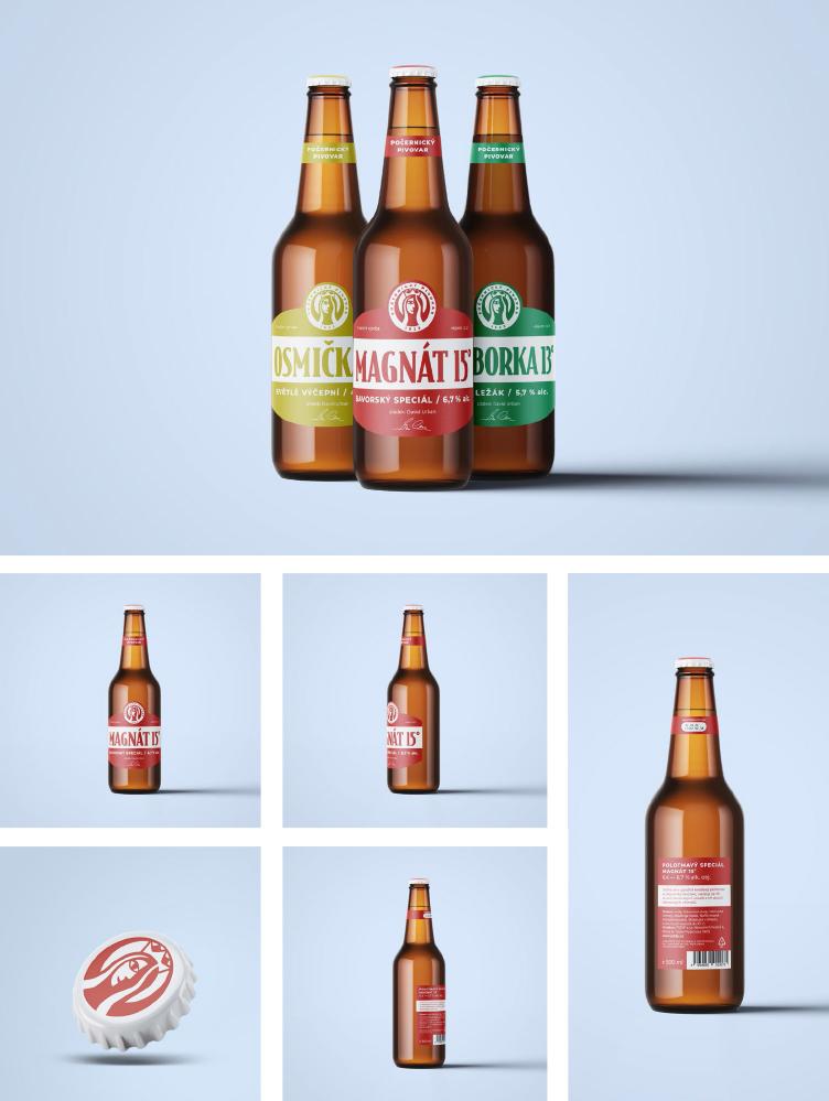 návrh značky, obalu<br>Počernický pivovar<br> semestrální práce | 1. ročník<br> 2020/2021