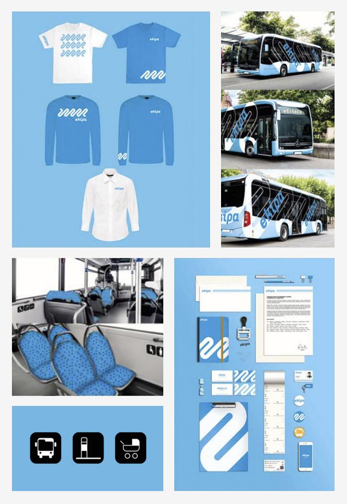 Jednotný vizuální styl autobusové společnosti Ekipa<br>VOŠG zaměření Propagační grafika<br>školní rok 2018/2019<br>vedoucí práce ak.mal.Zbyněk Kočvar<br>Cena Společnost přátel UPM musea v Praze